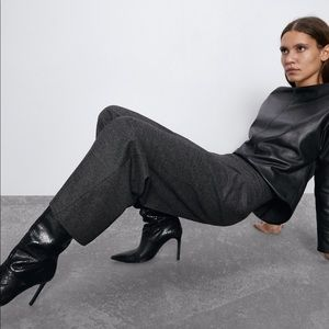 Zara S High Waist Cropped Gray Culotte Pants
